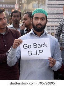 Indian Muslim holds a poster to protest against Bharatiya Janta Party or BJP during a protest rally organized by Congress on January 05, 2018 in Calcutta, India.
