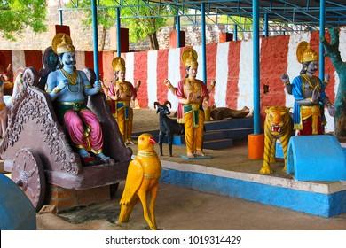Indian mythology showing Navagraha and their vehicles, Saturn, Rahu and Mangal graha, Neelkantheshwar Temple, Panshet