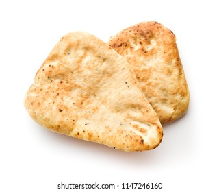 Indian naan bread isolated on white background.