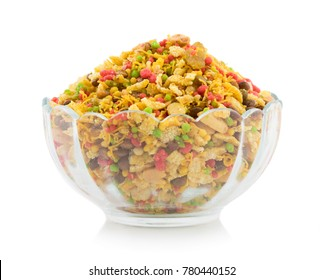 Indian Namkeen Food Navratan Mixture or Navratna Mix Namkeen Also Know As Nimco, Namkin, Mixture or Nimko Isolated on White Background