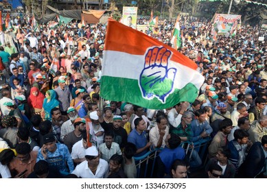 Indian National Congress supporter wave Congress flag during a protest rally against state government on December 12, 2019 in Calcutta, India.