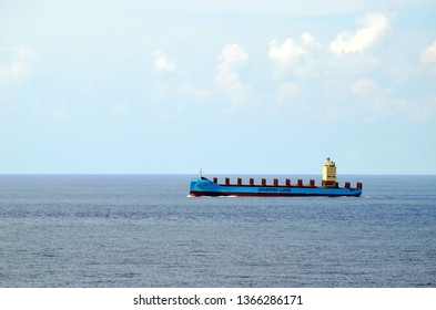Indian Ocean - 04/10/2019: Container ship Vaga Maersk owned by Maersk Line during her maiden voyage from Liuheng in China to Colombo.