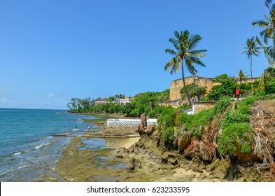 Indian Ocean Coastline (Forst Jesus), Mombasa, Kenya, Africa on 1st May 2015