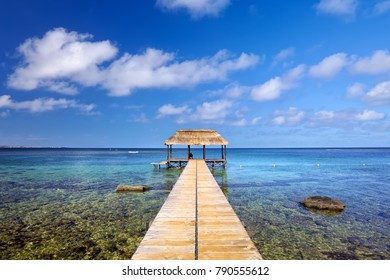 Indian Ocean with jetty in Mauritius Island