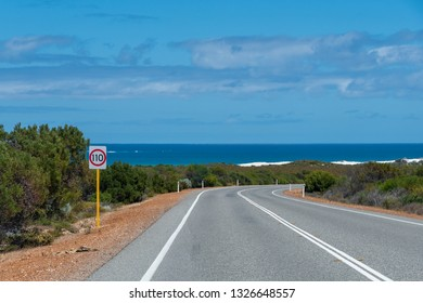 Indian Ocean Road at West coast of Australia close to Perth with bushes and the ocean