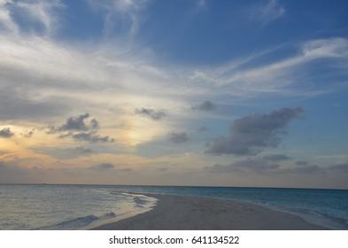 Indian ocean sunset in Maldives island