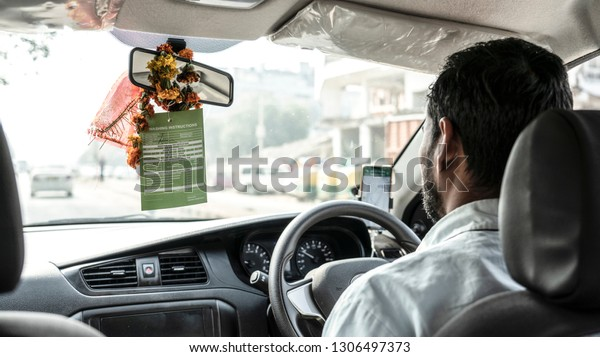 Young Woman Sleeping On Drivers Seat Of Vehicle Stock