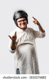 Indian old man wears helmet for safety, senior asian man with head protection gear