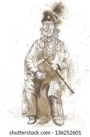 Indian old military veteran singing sad songs and holding in his hand tomahawk. /// A hand drawn illustration.