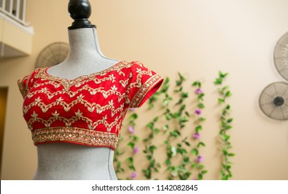 Indian / Pakistani Bride Heavy Work Blouse in Red Color.