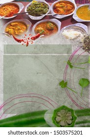 Indian and Pakistani food set Text background. write your own text, Dishes and appetisers of indeed cuisine, rice, lentils, Paneer, spices, masala. food top view