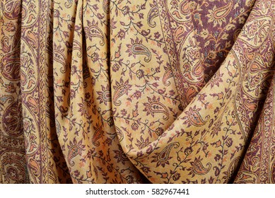 Indian pashmina shawl with traditional pattern, can be used as background