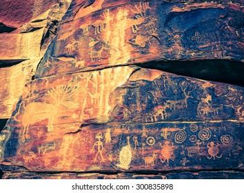Indian petroglyphs on a rock face near Cottonwood, Arizona