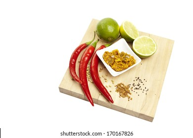 Indian pickles on a white background