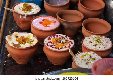 Indian popular drink lassi on the street