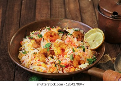 Indian Prawn or shrimp Biryani close up, selective focus