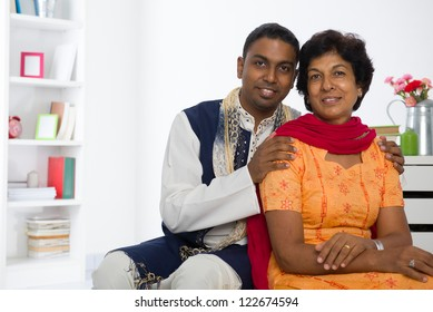 indian punjabi mother and son lifestyle photo in traditional dress