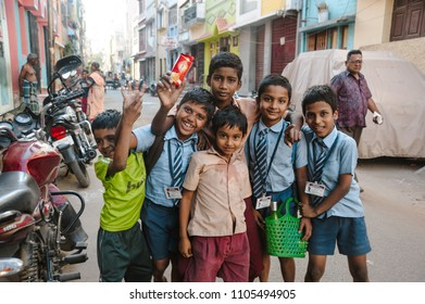 indian pupils kids posing in outdoors, 23 february 2018 Madurai, India