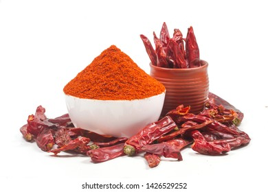indian red chili powder isolated on white background