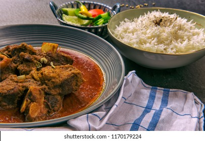 Indian Red Goat Curry with Basmati Rice