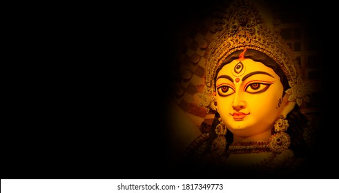 Indian Religion Festival Durga Puja Banner, Header Design with Goddess Durga Face
