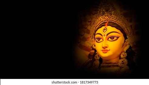 Indian Religion Festival Durga Puja Banner, Header Design with Goddess Durga Face - Shutterstock ID 1817349773