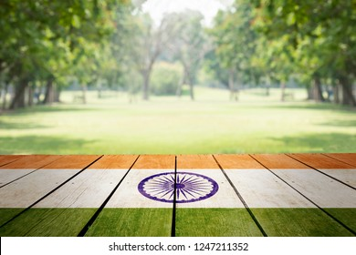Indian republic day, Indian nationnal flag paint on outdoor table in public park