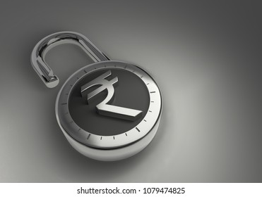 Indian Rupee, hacked, vulnerable and unprotected and unsecured as 3d rendering. A combination lock is unlocked with an Indian Rupee sign representing unsecured vulnerable money.