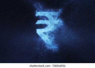 Indian Rupee sign, Indian Rupee symbol. Abstract night sky background