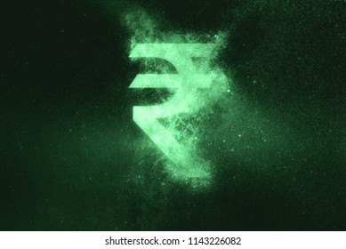 Indian Rupee sign, Indian Rupee symbol. Green symbol