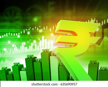 Indian rupee symbol with graph, Financial growth of Indian economy. 3d render