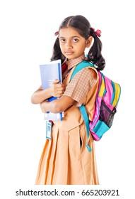 Indian School girl, isolated on white background, Mumbai, Maharashtra, India, Southeast Asia.