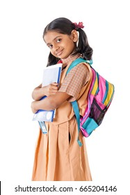 Indian School girl, isolated on white background, Mumbai, Maharashtra, India, Southeast Asia.