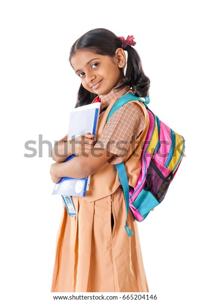 Indian School Girl Isolated On White Background Mumbai Maharashtra India Southeast