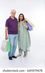 Indian senior Couple on white background