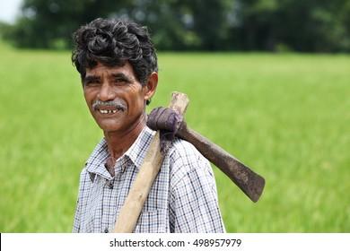 Indian Senior Man Holding Grub Hoe