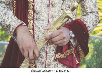 Indian Sikh groom's wedding sword close up