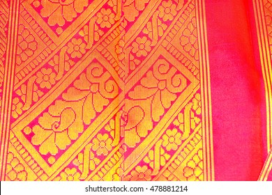 Indian silk sari worn by women for marriage event or traditional festival.