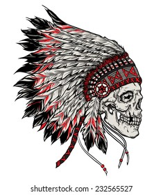 Indian skull hand drawn vector illustration isolated
