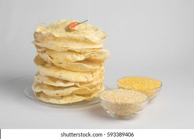 Indian snacks, deep fried crackers ( papad ). Mung dal and urad dal papad an Indian fried dish, which is an side dish for lunch and dinner.
