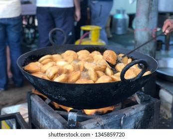 Indian snacks kachori in making