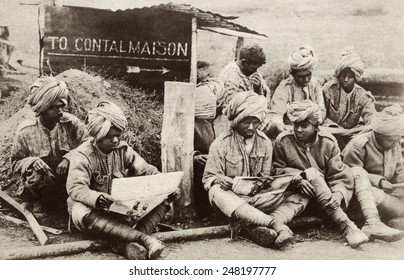 Indian soldiers reading illustrated papers in Europe during WW1. One million Indian troops served overseas and sustained over 120,000 causalities .