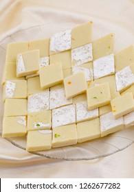 Indian Special Sweet Food Kaju Katli Also Called Kaju Barfi or Kesar Kaju Katli is an all Time Favorite Traditional Mithai