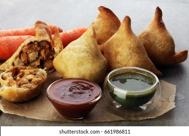 Indian special traditional street food punjabi samosa or Coxinha, Croquete and other Fried Brazilian Snacks