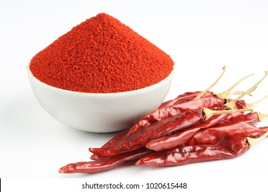 Indian spice Red chilli powder in white ceramic bowl