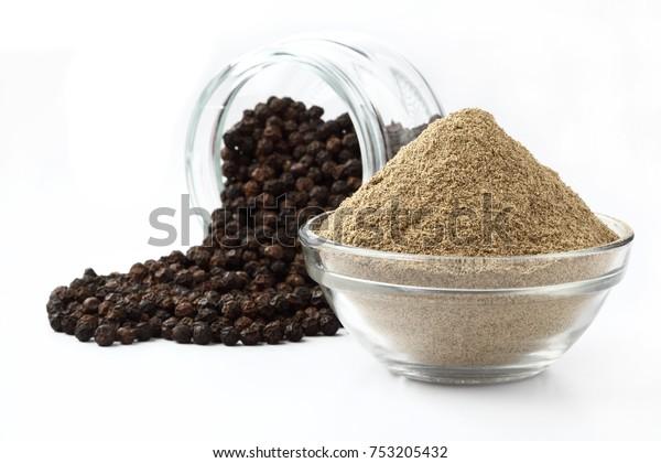Indiska Kryddor Svartpeppar Pulver Svartpeppar Stockfoto Redigera Nu 753205432