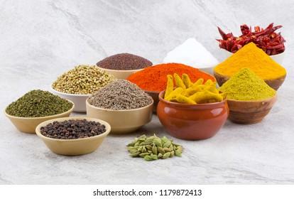Indian Spices Collection Also Called Red Chili, Turmeric Powder, Coriander, Fenugreek, Mustard Seed, Salt, Turmeric Stick, Cumin, Dry Chili, Cardamom, Black Pepper, Mirchi, Haldi on Vintage Background