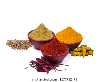 Indian spices, colour full spices in glass bowls