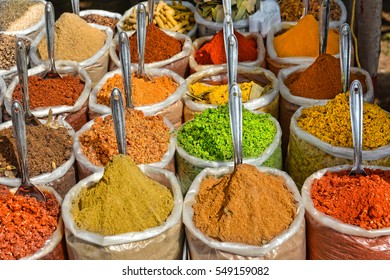 Indian spices at the market in Anjuna