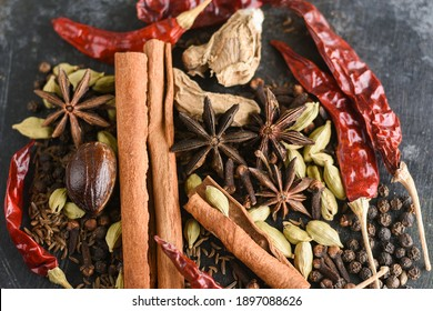 Indian spices. Indian spicy curry masala for making curry in India. Masala tea, Ayurvedic medicine used in India. Ayurveda for good health. Garam masala for meat dishes cinnamon, cardamom ,star anise.